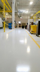 Automotive Supplier Floor Coating - High Build primer/Basecoat with Urethane Topcoat.