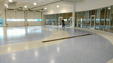 Thin-mil Epoxy / Polyaspartic System with full flake broadcast